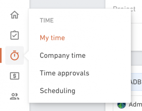 Hover on time item in navigation