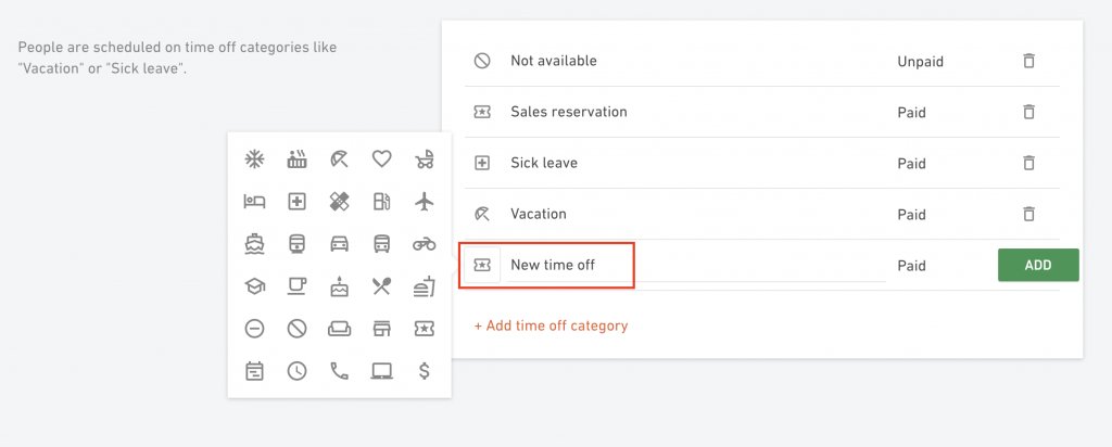time off icons